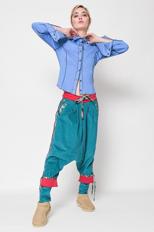 Pantalon turqoise cu tur lasat