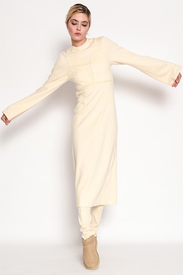 Rochie midi ivoire